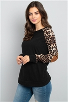 S16-6-4-RFT2006-RAP002C-BKBWN - LEOPARD SLEEVE ELBOW PATCH SWEATERS- BLACK/BROWN 1-2-2-2