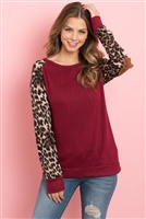 S16-5-2-RFT2006-RAP002C-BUBWN - LEOPARD SLEEVE ELBOW PATCH SWEATERS- BURGUNDY/BROWN 1-2-2-2