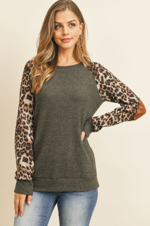 S16-4-3-RFT2006-RAP002C-CH2TBW - LEOPARD SLEEVE ELBOW PATCH SWEATERS- CHARCOAL 2TONE/BROWN 1-2-2-2