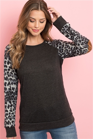 S16-4-3-RFT2006-RAP002C-CH2TGY - LEOPARD SLEEVE ELBOW PATCH SWEATERS- CHARCOAL 2TONE/GREY 1-2-2-2