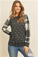S-12-8-2-RFT2006-RPD026-CHOFBK - PATCHED POLKA DOT TOP- CHARCOAL/OFFWHITE BLACK 1-2-2-2