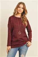 S11-6-2-RFT2007-RSW038-BU - LONG SLEEVED TWO TONED HACCI TUNIC- BURGUNDY 1-2-2-2