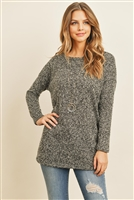 S12-3-1-RFT2007-RSW038-HG - LONG SLEEVED TWO TONED HACCI TUNIC- HEATHER GREY 1-2-2-2