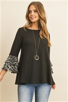 S10-11-3-RFT2010-RAP002C-BKGY BLACK GRAY LEOPARD FLUTTER SLEEVE SWING TOP 1-2-2-2