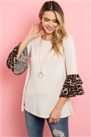 S10-11-3-RFT2010-RAP002C-TPBWN TAUPE BROWN LEOPARD FLUTTER SLEEVE SWING TOP 1-2-2-2