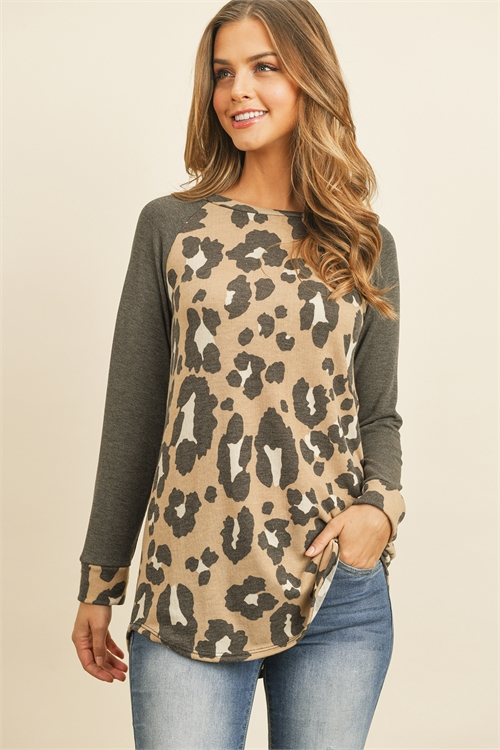 S10-16-4-RFT2011-RAP109-TPCHL - LEOPARD PRINT LONG SLEEVE RAGLAN TOP- TAUPE CHARCOAL 1-2-2-1