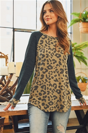 SH-6-RFT2011-RAP128-OVCHL-1 - ROUND NECK LONG SLEEVED ANIMAL PRINT TOP- OLIVE/CHARCOAL 2-2-2