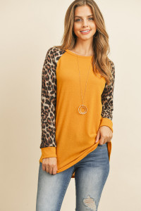 S10-20-4-RFT2011HC-RAP002C-MU MUSTARD BROWN LONG SLEEVE LEOPARD RAGLAN HACCI TOP 1-2-2-2