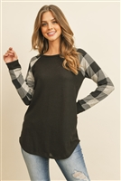 S14-5-3-RFT2011HC-RPL010C-BKOT - CHECKER PLAID RAGLAN TOP- BLACK OATMEAL 1-2-2-2