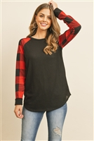 S14-5-3-RFT2011HC-RPL010C-BKR - CHECKER PLAID RAGLAN TOP- BLACK RED 1-2-2-2