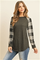 S14-6-3-RFT2011HC-RPL010C-CHOT - CHECKER PLAID RAGLAN TOP- CHARCOAL OATMEAL 1-2-2-2