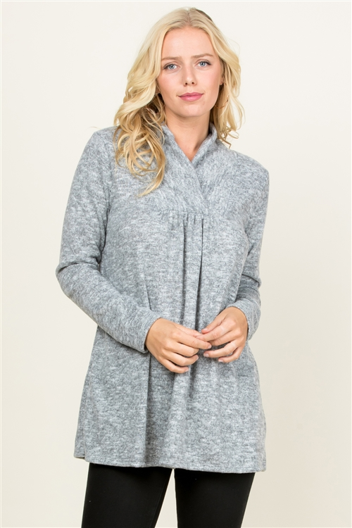 S10-14-3-RFT2012LS-RSW004-HG - SWEATER BABYDOLL TUNIC TOP- HEATHER GREY 1-2-2