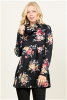 S10-14-3-RFT2013LS-RFL016-BKMV-1 - SWEATER BABYDOLL TUNIC TOP- BLACK/MAUVE 2-2-2