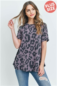 S15-11-5-RFT2015X-RAP012-DKLVD-1 - PLUS SIZE LIGHTWEIGHT LEOPARD SWING TOP- DARK LAVENDER 1-2-1