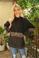 S9-20-4-RFT2017-RAP009C-BKBWNCHL BLACK BROWN CHARCOAL LEOPARD PUFF SLEEVED SWEATER 1-2-2-2