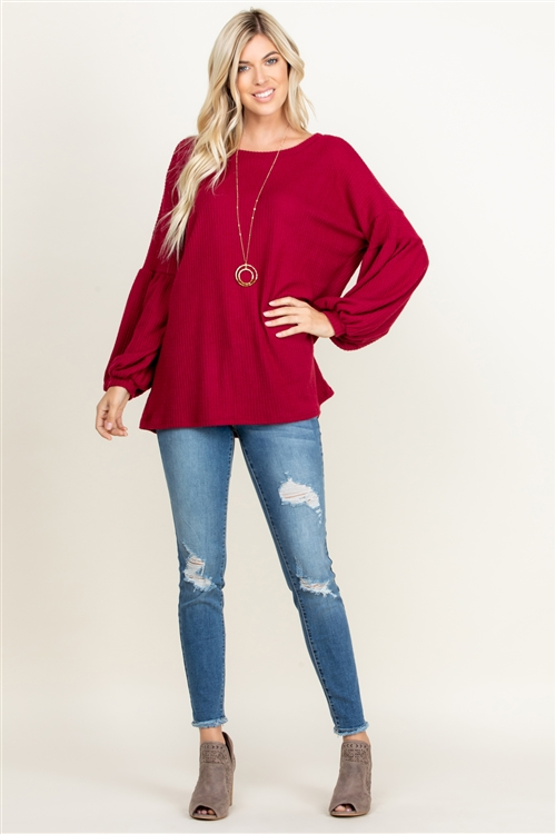 S10-15-2-RFT2020-RSW012-GRNT - BRUSHED WAFFLE BUBBLE SLEEVE SWEATER- GARNET 1-1-2