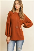 S10-8-2-RFT2020-WF-GNGR - SOLID WAFFLE PUFF SLEEVED SWEATER- GINGER 1-2-2-2