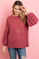 S10-8-2-RFT2020-WF-MV - SOLID WAFFLE PUFF SLEEVED SWEATER- MAUVE 1-2-2-2