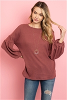 S10-8-2-RFT2020-WF-RDBWN - SOLID WAFFLE PUFF SLEEVED SWEATER- RED/BROWN 1-2-2-2