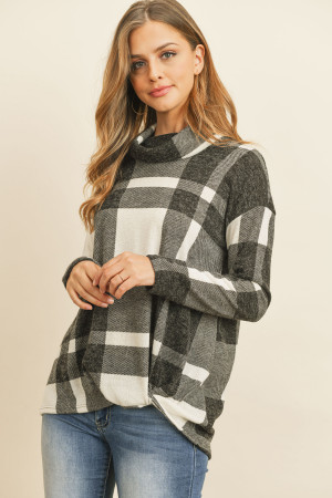 S15-1-2-RFT2025-RPL014-OFWBK - PLAID CHECKER PRINT COWL NECK FRONT KNOT MIER HAIR TOP- OFF-WHITE/BLACK 1-2-2-2