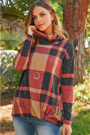 S15-2-3-RFT2025-RPL014-TPBK - PLAID CHECKER PRINT COWL NECK FRONT KNOT MIER HAIR TOP- TAUPE/BLACK 1-2-2-2