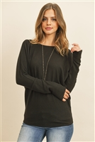 S10-6-3-RFT2026-BHC-BK - QUARTER SLEEVE BRUSHED HACCI DOLMAN TOP- BLACK 1-2-2-2