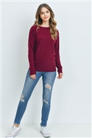 S12-12-2-RFT2026-BHC-BU - LONG SLEEVE BRUSHED HACCI DOLMAN TOP- BURGUNDY 1-2-2-2