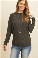 S10-7-3-RFT2026-BHC-CHL - LONG SLEEVE BRUSHED HACCI DOLMAN TOP- CHARCOAL 1-2-2-2