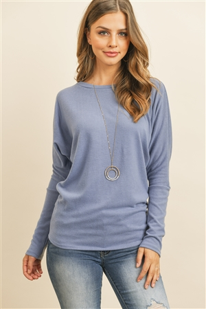 S14-9-2-RFT2026-BHC-DNM-1 - LONG SLEEVE BRUSHED HACCI DOLMAN TOP- DENIM 0-2-2-2