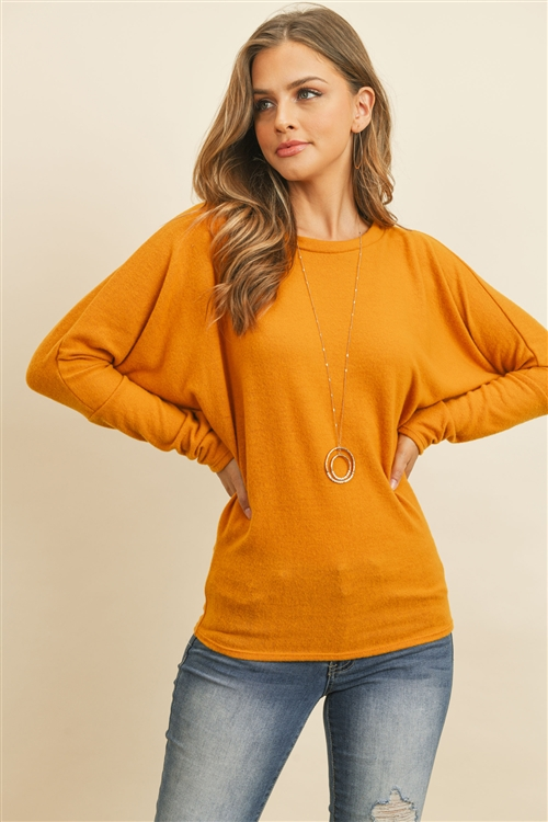S14-9-2-RFT2026-BHC-FLMU-1 - LONG SLEEVE BRUSHED HACCI DOLMAN TOP- FALL MUSTARD 0-2-2-2