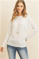 S10-6-3-RFT2026-BHC-IV - QUARTER SLEEVE BRUSHED HACCI DOLMAN TOP- IVORY 1-2-2-2