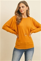 S9-7-2-RFT2026-BHC-MU - QUARTER SLEEVE BRUSHED HACCI DOLMAN TOP- MUSTARD 1-2-2-2
