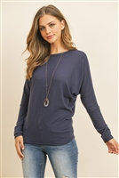 S9-6-1-RFT2026-BHC-NV - LONG SLEEVE BRUSHED HACCI DOLMAN TOP- NAVY 1-2-2-2