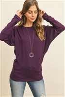 S10-6-2-RFT2026-BHC-PLM - QUARTER SLEEVE BRUSHED HACCI DOLMAN TOP- PLUM 1-2-2-2