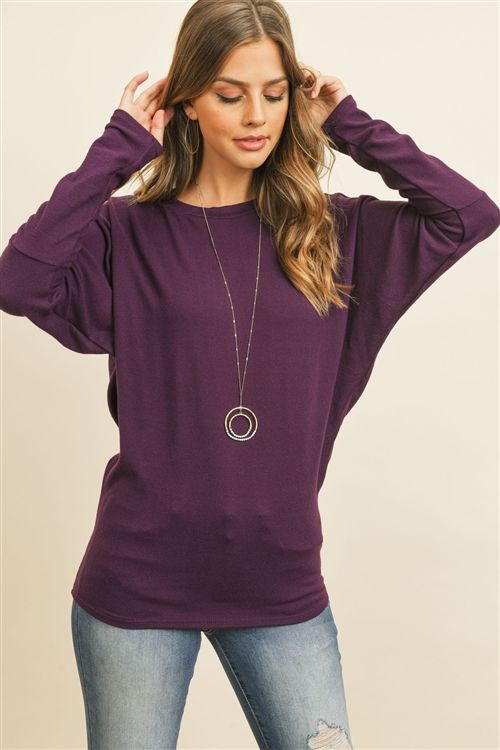 S12-4-1-RFT2026-BHC-PLM - LONG SLEEVE BRUSHED HACCI DOLMAN TOP- PLUM 1-2-2-2
