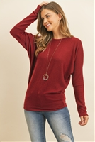 S10-6-3-RFT2026-BHC-WN - QUARTER SLEEVE BRUSHED HACCI DOLMAN TOP- WINE 1-2-2-2
