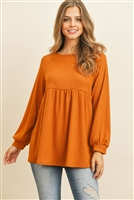 S5-2-3-RFT2031-WF-AMBR -  BABYDOLL LONG SLEEVED EMPIRE WAIST WAFFLE TUNIC- AMBER 1-2-2-2