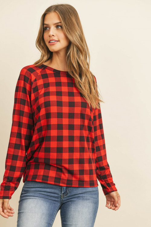 S10-12-2-RFT2032-RPL009-RED PLAID RED LIGHTWEIGHT PRINT PULLOVER TOP 1-2-2-2