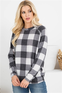 S12-3-2/S10-5-1-RFT2032-RPL015-BKIV BLACK/IVORY TERRY BRUSHED PLAID PULLOVER TOP 1-2-2-2
