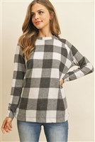 S9-13-3-RFT2032-RPL015-BKIV-1 - TERRY BRUSHED PLAID PULLOVER TOP- BLACK/IVORY 2-2
