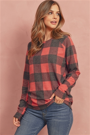 S7-10-2-RFT2032-RPL015-BKRD - TERRY BRUSHED PLAID PULLOVER- BLACK/RED 1-2-2-2