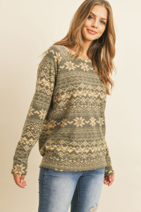 S9-11-3-RFT2032-RPR066-BKTP - BOHO PRINT LONG SLEEVED TOP- BLACK/TAUPE 1-2-2-2
