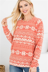 S10-2-2-RFT2032-RPR066-RSTKHK - BOHO PRINT LONG SLEEVED TOP- RUST/KHAKI 1-2-2-2