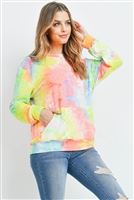 S9-17-1-RFT2036-RTD001-BL-1 BLUE TIE DYE POCKET PULLOVER COLLECTION TOP 0-1-2-2
