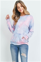 S6-3-1-RFT2036-RTD001-PKDNM PINK DENIM TIE DYE POCKET PULLOVER COLLECTION TOP 1-2-2-2