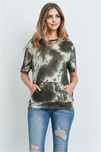 C6-A-1-RFT2036-RTD007SS-AMSTN - SHORT SLEEVES TIE DYE KANGAROO POCKET TOP- ARMY STONE 1-2-2-2
