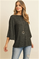S9-2-4-RFT2037-BHC-BK - BOAT NECK BELL SLEEVE SOLID HACCI BRUSHED TOP- BLACK 1-2-2-2