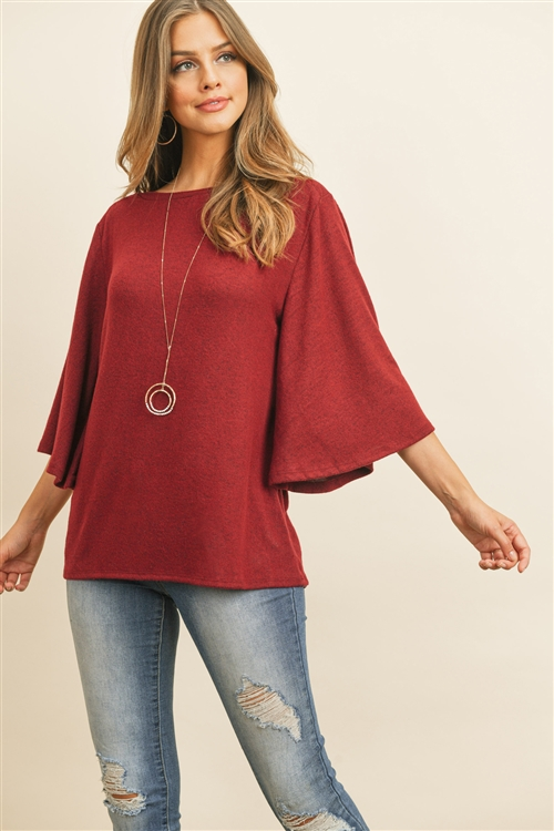 RFT2037-BHC-DKRB - BOAT NECK BELL SLEEVE SOLID HACCI BRUSHED TOP- DARK RUBY 1-2-2-2