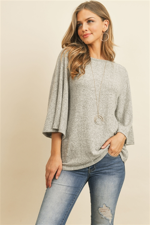 RFT2037-BHC-HG - BOAT NECK BELL SLEEVE SOLID HACCI BRUSHED TOP- HEATHER GREY 1-2-2-2
