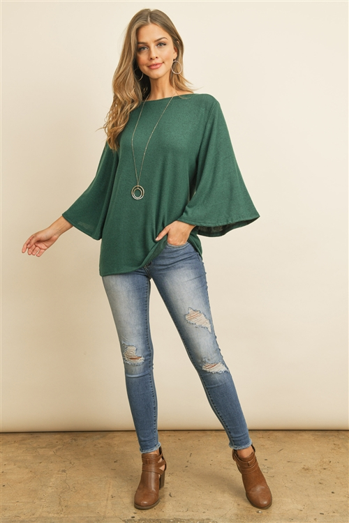 RFT2037-BHC-HTGN - BOAT NECK BELL SLEEVE SOLID HACCI BRUSHED TOP- HUNTER GREEN 1-2-2-2